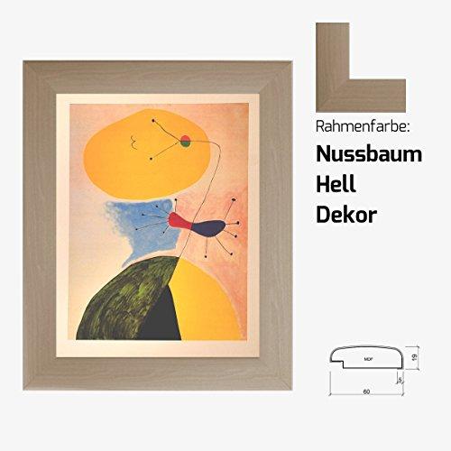Kunstdruck MIRÒ - Portrait klassische Moderne 40 x 50 cm mit MDF-Bilderrahmen Milano & Acrylglas reflexfrei, viele Farben zur Auswahl, hier Nussbaum Hell Dekor