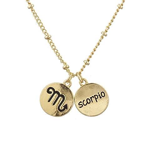 LUX Zubehör Gold Ton Scorpio und Astrologische Zeichen Charm Halskette (Tan Perlen Set)