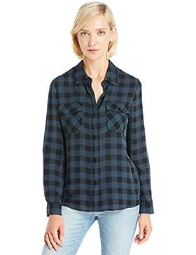 LILYSILK Camisa de Seda Mujer Cuadro Estilo Básico 16MM
