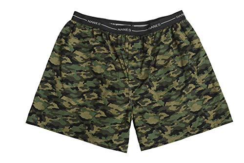 Hanes Red Label Men's 4-Pack Exposed Waistband Woven Camo Boxers, Camo, M