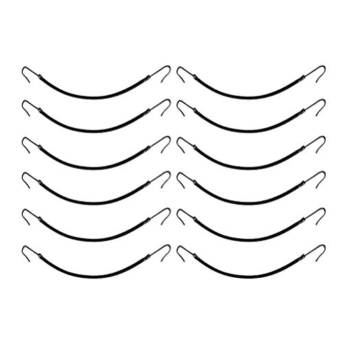 Lurrose ponytail hooks black elastic hair ties capelli bungee per capelli fragili, confezione da 12