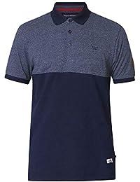 019e01279 Duke Men s Stefhen Pique Knit Short Sleeve Polo Shirt with Cut and Sew Blue