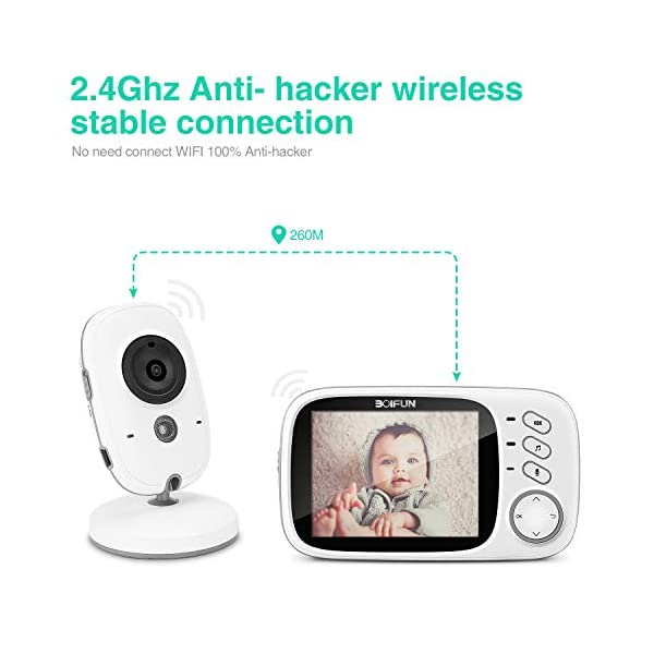 Baby Monitor with Camera, BOIFUN with 3.2'' LCD Screen 300 Meters 2.4Ghz Wireless Stable Connection Rechargeable Battery VOX Night Vision Temperature Monitor Two-Way Talk Baby/Elderly/Pet BOIFUN 🐻 【Fantastic Picture even in Night Vision Mode】 --- Clear picture quality, even in night vision mode, you can see the baby's subtle movements, intellegent infrared night vision, 2-5 meters distance, automatically switch to night vision mode when the light drops, automatically recover after the light is brightened. 🐻 【Highly clear Two-Way Talk Quality】 --- High quality sound and real time two way talk, Respond promptly when your baby needs you, let the baby know that you are always with him. 🐻 【Enhanced temperature monitoring】---Real time and precise baby monitor sensor, the error does not exceed 1°C. It is our responsibility to help you know the temperature of your baby's room and assist you keep baby comfortable at all time. 3