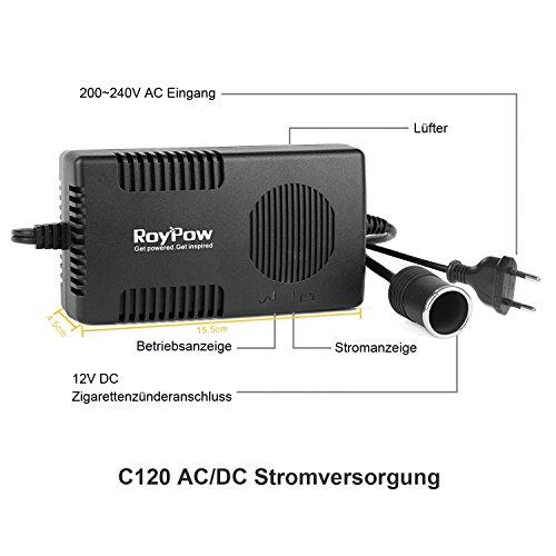 RoyPow 120W (150W max) Alimentation Électronique AC à DC Adaptateur 220V / 230V / 240V à 12V Prise d'Allume-cigare de Voiture 12V / 10A DC Électricité Transformateur Convertisseur