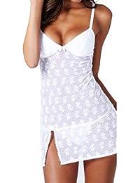 LSAltd Frauen Sexy Dessous Mode Sexy Spitze Perspektive Straps Nachtwäsche V-Ausschnitt Bogen Unterwäsche Versuchung Babydoll Nachtwäsche
