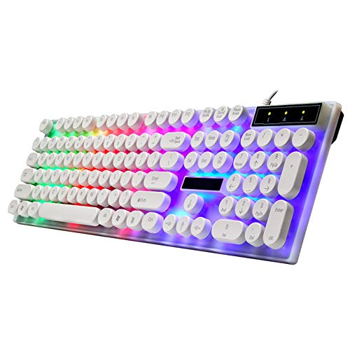 QHJ Gaming Tastatur,wasserdichte Regenbogen Tastatur mit Regenbogen