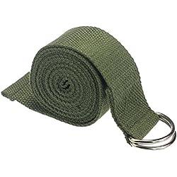 Yoga Cinturon - SODIAL(R)moda accesorio de Yoga Cintura Pierna fitness ajustable 180CM Correa entrenamiento estiramiento D-Ring algodon hebilla de cinturon verde