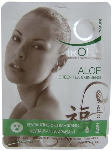 Iroha Gesichtsmaske Aloe Vera, Green Tea und Ginseng, 3er Pack (3 x 23 ml)