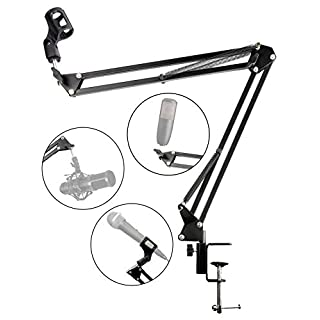RockJam MS050 Adjustable Microphone Suspension Boom Scissor Arm Stand, Compact Mic Stand Made of Durable Steel for Radio Broadcasting Studio, Voice-Over Sound Studio, Stages, and TV Stations