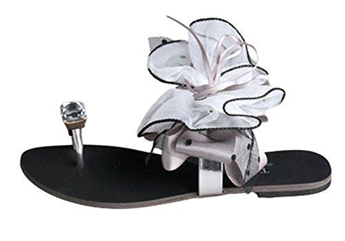 Fortuning's JDS sandali piatti strass bowknot delle donne pantofole punta aperta Grigio