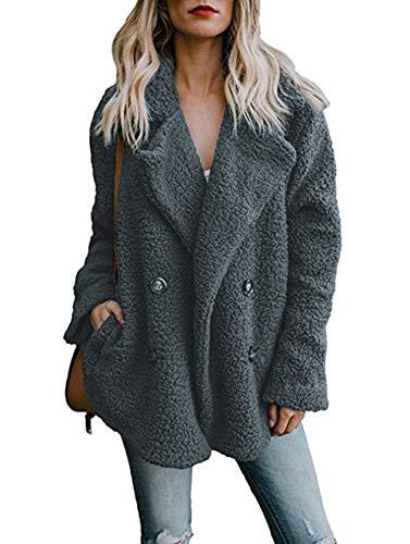 ZIYYOOHY Damen Mantel Teddy Cardigan Revers Oversize Plüschjacke Winterjacke Kurz Coat Parka Outwear Tasche (M(38), Dunkelgrau)