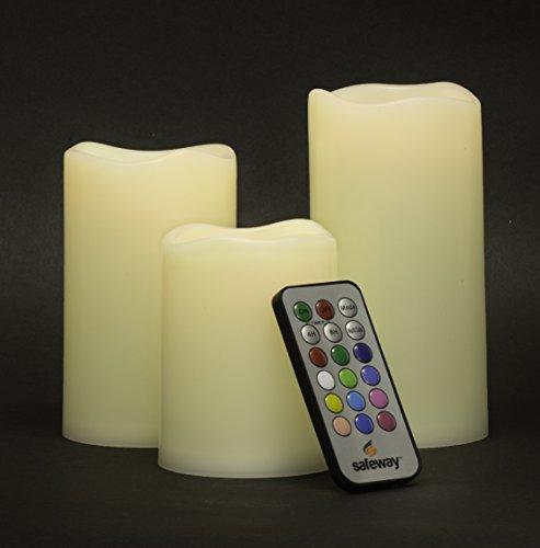 Juego de 3 velas LED Safeway Candlelites redondas, sin llama, cambian de color, suaves, de aspecto como la cera, alto rendimiento con temporizador por control remoto