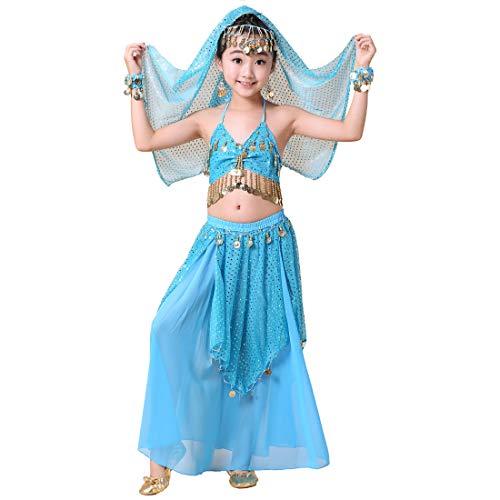 Magogo Bauchtanz Kostüm Mädchen Shiny Karneval Outfit Arabische Prinzessin Kleid Kleidung Cosplay Dancewear Kinder Party Phantasie - Blau Arabischen Prinzessin Kostüm