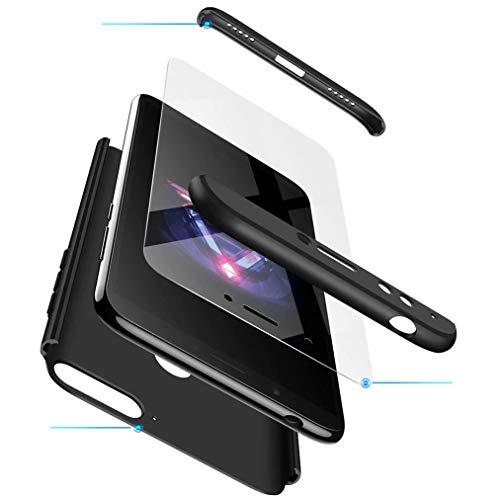 FHXD Kompatibel mit Huawei Honor 7A/Y6 2018 Hülle Stoßfest 360° Schutzhülle Schutz Case Cover Ultra Dünn Anti-Kratzen 3 in 1 Handyhülle MEHRWEG-Schwarz