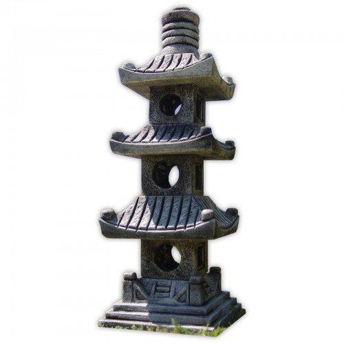 Steinfigur 3-stöckige Pagode Asiastyle Thailand asiatischer Garten Gartendeko dunkelgrau - Asiatische Pagode