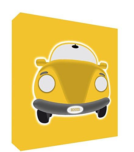 Feel Good Art-Tela con Gallery Wrapped con pannello frontale Crazed auto per bambini (38 x 38 x 4 cm, misura: M, colore: giallo, auto sportiva
