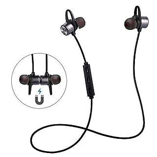 ER-ESTAVEL Bluetooth Kopfhörer, In-Ear Mgnetisches Headset Wireless Sports Ohrhörer Mit Mikrofon für Alle Bluetooth-Gerät(Schwarz)