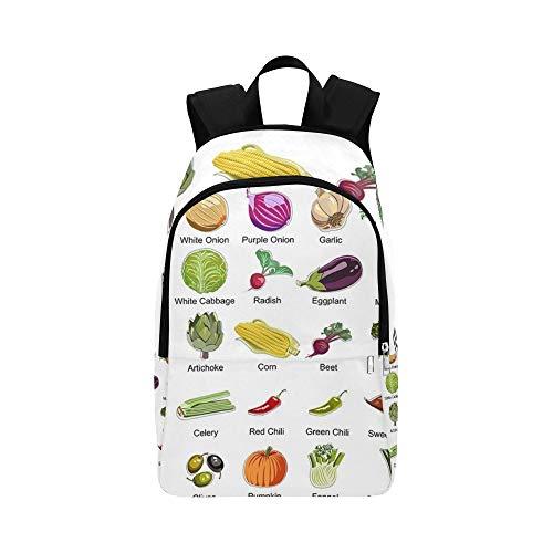 Sammlung 35 Gemüse Icons Casual Daypack Reisetasche College School Rucksack für Männer und Frauen
