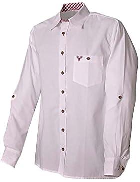 Trachtenhemd Klaus weiß/burgund langarm Lekra