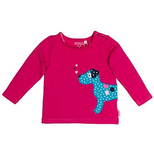 SALT AND PEPPER SALT AND PEPPER Baby-Mädchen Langarmshirt B Longsleeve Happy Uni Hund Pink (Magenta 853) 68