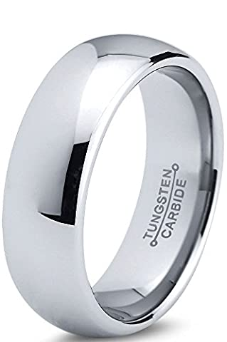 Tungsten Wedding Band Ring 7mm for Men Women Comfort Fit Domed Round Polished Lifetime Guarantee Size Q 1/2