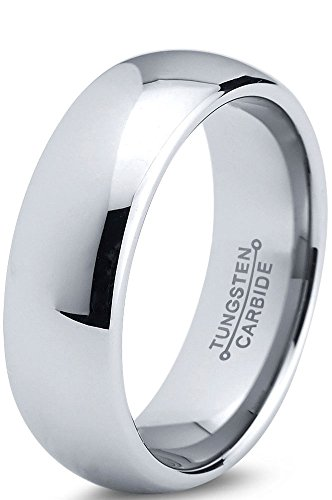 Tungsten Wedding Band Ring 7mm for Men Women Comfort Fit Domed Round Polished Lifetime Guarantee Size S 1/2