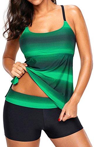 EUDOLAH Damen Mehrfarbig X-Back Tankini mit Hotpants Shorts Bademode mit Bügeln UV Schutz (M (EU 36-38), grün)