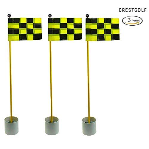 crestgolf 3Sets Backyard Praxis Golf Loch Pole Cup Flagge Stick, 3Abschnitte, Golf Putting Grün flagstick, black-yellow plaid -