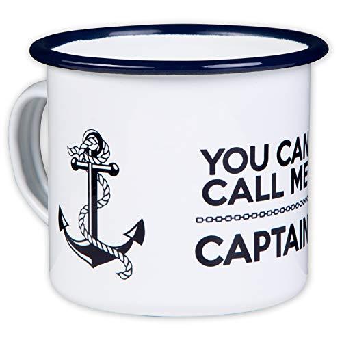 You CAN Call ME Captain - Hochwertiger Emaille Becher - mit maritimen Anker Design für Kapitäne, Segler und Boot Liebhaber - leicht und robust - von MUGSY.de