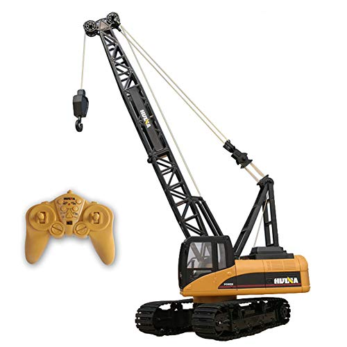 SOSAWEI 15 Channel Full Functional Professional RC Tower Crane Truck 2.4G Crawler Full-Function Remote Control Alloy Excavator Truck Toy.
