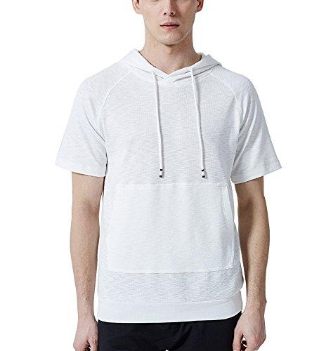 Hombre De Manga Cortas con Capucha Sudadera Hombres Camisa Camiseta  Sudadera Capucha Casual Mangas Cortas L f8ee443f0c362
