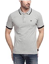 Yukth Mens Half Sleeve Tipping Polo T-Shirt Grey Melange