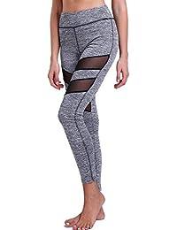 FITTOO Legging de Sport Femme Pantalon Yoga Collant Tulle Sexy Taille Haute  Amincissant pour Fitness Course 1ca8982cd90
