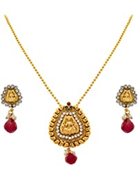 JFL - Traditional Ethnic One Gram Gold Plated Temple Laxmi Goddess Stone Designer Pendant Set With Earring For...