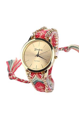 Reloj - GENEVA Reloj de pulsera de cadena trenzada de mujer (Modelo 1)