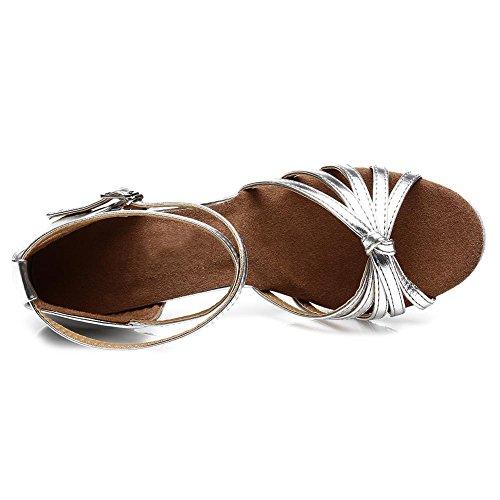 HIPPOSEUS Donne sala da ballo scarpe/scarpe da ballo/scarpe latino raso donne 7CM Argento