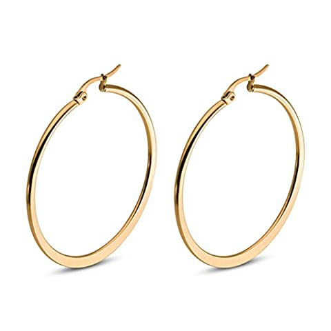 AnaZoz Stainless Steel 2MM Width Women Hoop Earrings for Cartilage Click Top Gold 40MM