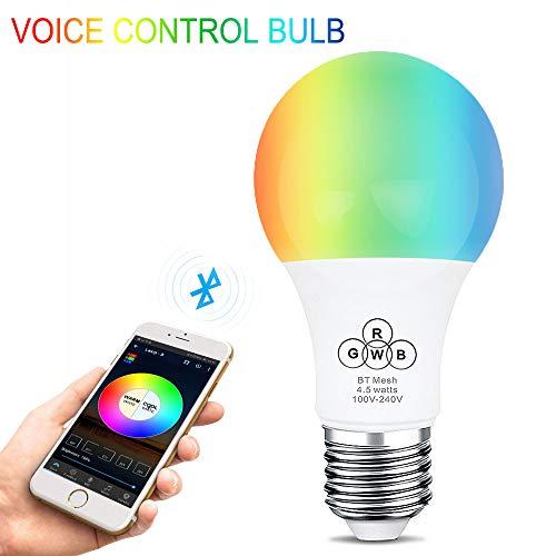 Led Bluetooth 4.5W Smart Bluetooth-Lampe RGBW E27 / E26 LED-Birne Intelligent 5050 RGB / 2835 Dimmable Ambienteblendebirne mit 16 Millionen Lichtfarben steuerbar über App Smartphone Tablet (Bluetooth Led E27 Lampe)