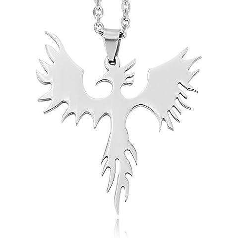 Argento Acciaio Inossidabile Pendente Ciondolo Collana Phoenix Uccello Firebird - Phoenix Firebird