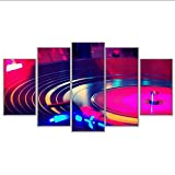 hhlwl Wandkunst Rahmen Leinwand HD Drucke Malerei 5 Stücke DJ Musikinstrument Plattenspieler Poster Wohnkultur Dj Drehen Tisch Bilder-20x35/45/55cm-frame
