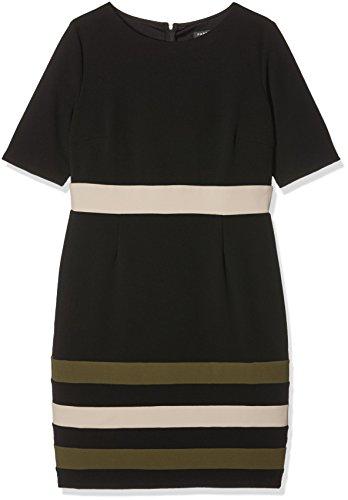 Paper Dolls Damen Kleid Colour Block Mehrfarbig (Black/Beige/Khaki)