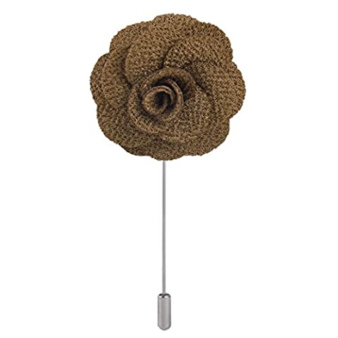Men's Handmade Flower Lapel Pin Brooch Boutonniere Stick Brown Wedding Tuxedo Corsage Suit ciciTree