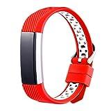 squarex Exquisite Sport-Armband aus Silikon für Fitbit Alta HR, Damen, rot, AS Show