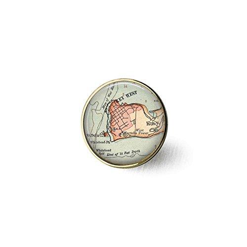 qws Retro-Schlüssel-Brosche West Florida Vintage Map Schmuck - optionaler Kompass Anhänger - Schlüssel West Map