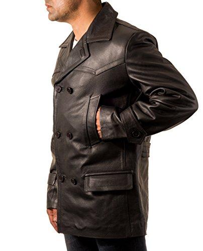 Dr Who style militaire ˆ double boutonnage U-bateau en cuir du Caban allemand Homme Noir