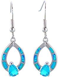 Boucles d'Oreilles Pendantes en Plaqué Argent et Opale et Cristal Bleu -Blue Pearls-BPS 0815 Y