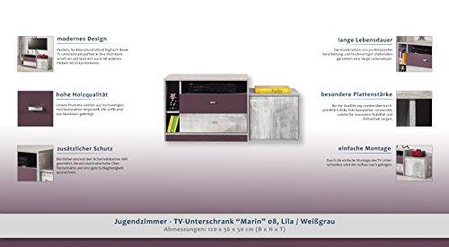 """Jugendzimmer – TV – Unterschrank """"Marin"""" 08, Lila / Weißgrau – Abmessungen: 120 x 56 x 50 cm (B x H x T) - 2"""