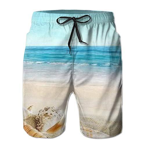 s Dekor Seestern Muscheln Sandstrand Herren Beachwear Sommerurlaub Badehose Quick Dry L ()