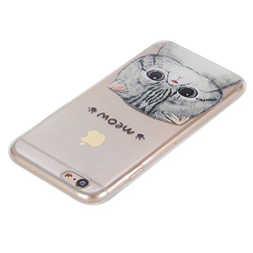 BONROY ® Apple iPhone 6 Plus (5,5 Zoll(14 cm) Silikon TPU Schutzhülle,Apple iPhone 6 Plus (5,5 Zoll(14 cm) Handy Cover Schutzhülle Handyhülle TPU Case Helle Schale Painted Gemalt Durchsichtig Transpar miauen