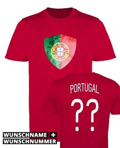 Comedy Shirts - Portugal Trikot - Wappen: Groß - Wunsch - Mädchen Trikot - Rot/Weiss Gr. 152-164
